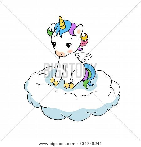 Cute Little Unicorn Sitting On Cloud Print. Baby Unicorn Isolated Vector Icon. Fantasy Horse Sticker