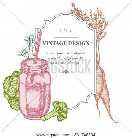 Badge Design With Pastel Broccoli, Greenery, Carrot, Smothie Jars Stock Illustration