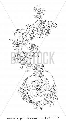Elements In Baroque, Rococo, Victorian Renaissance Style. Trendy Floral Vintage Pattern. Vector Illu
