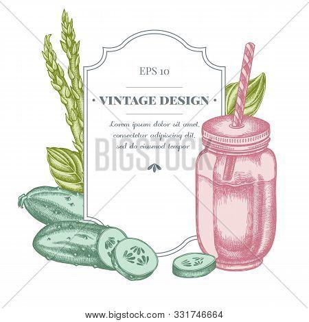 Badge Design With Pastel Green Beans, Basil, Smothie Jars, Cucumber Stock Illustration