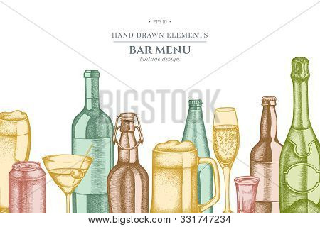 Design With Pastel Glass, Champagne, Mug Of Beer, Alcohol Shot, Bottles Of Beer, Bottle Of Wine, Gla