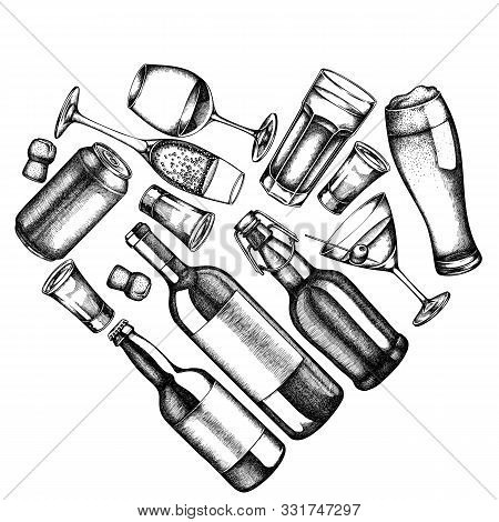 Heart Design With Black And White Glass, Champagne, Mug Of Beer, Alcohol Shot, Bottles Of Beer, Bott