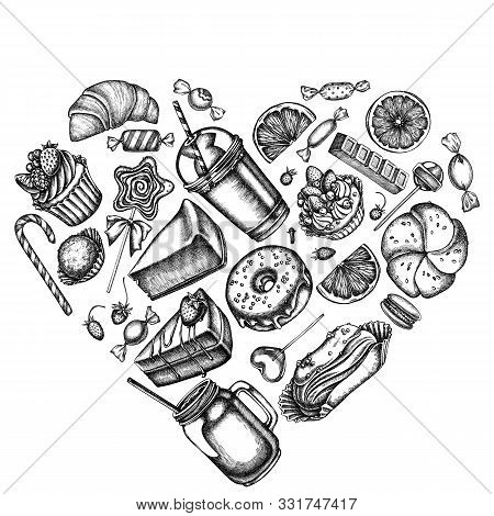 Heart Design With Black And White Cinnamon, Macaron, Lollipop, Bar, Candies, Oranges, Buns And Bread