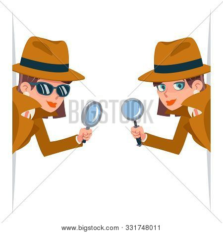 Detective Female Snoop Magnifying Glass Tec Peeking Out Corner Search Help Noir Cute Character Carto