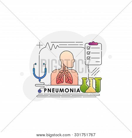 Pneumonia. Pneumonia Vector. Pneumonia icon Vector. Pneumonia lungs care. Pneumonia design. Pneumonia illustrations. Pneumonia banner. Medical Pneumonia. Pneumonia Vector Background. Pneumonia Medical Pulmonary vector illustration isolated on white backgr