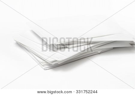 Stack White, Clean Note Paper, On A White Background.