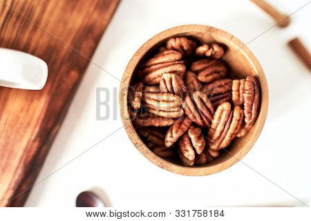 Pecans In A Bowl Top View, Concept Healthy Food, Diet, Healthy Fats, Unsaturated Fats