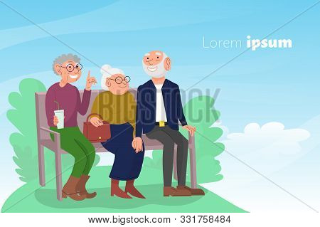 Three Old Friends Sit On Bench In Park, Happy Elderly People Enjoying Outdoors, Cheerful Friendly Ch