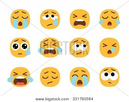 Yellow Crying Emoji Faces. Cry Face Set, Vector Crier Emojies With Tears, Pain Or Sad Emoticons, Sad