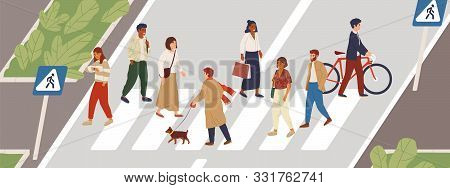 People At Crosswalk Flat Vector Illustration. Urban Lifestyle Concept. Male And Female Pedestrians C