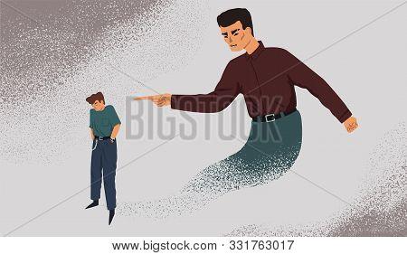 Inner Control Metaphor Vector Illustration. Depressed Man With Guilt Complex. Mental Health Problem,