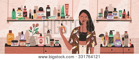 Natural Cosmetics, Eco Products Choosing In Store Flat Illustration. Female Shop Assistant, Cosmetic