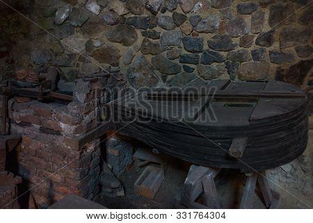 Hunedoara, Romania: Interior Of The Corvin Castle, Also Known As Hunyadi Castle Or Hunedoara Castle,