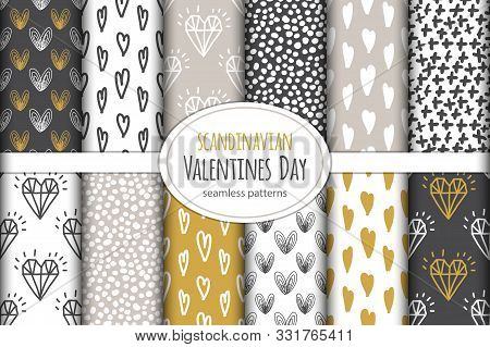 Cute Set Of Scandinavian Valentines Day Seamless Patterns Background With Hand Drawn Hearts