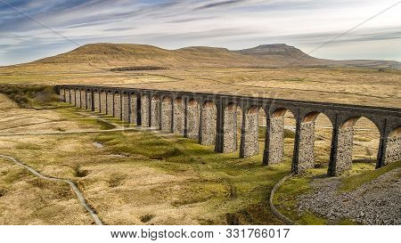 Ribblehead Viaduct Aerial Scenery By Drone, Yorkshire