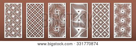 Set Of Laser Cut Templates With Geometric Pattern.  For Metal Cutting, Wood Carving, Panel Decor, Pa