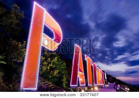 Pattaya City Lighting Sign