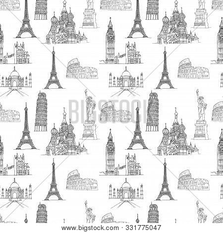 Seamless Pattern Of Famous Places - Coliseum And Eifel Tower, Big Ben And Taj Mahal, Statye Of Liber