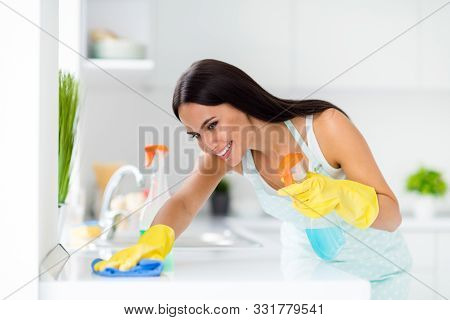 Profile Side Photo Of Positive House Maid Girl Wearing Dotted Apron Have Cleaning House Using Yellow