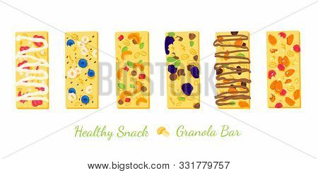 Set Of Six Healthy Granola Bars With Cereals, Peanuts, Raisins, Almonds Dor Web And Printing. Health