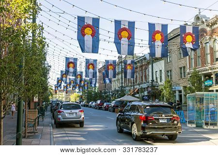 Denver,colorado,america- September 20,2019: Colorado Flags In Historic Larimer Square In Downtown De
