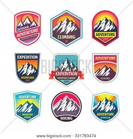Mountain Logo Badge Set. Adventure Outdoor Logo Creative Vintage Emblem Collection. Climbing Logo De
