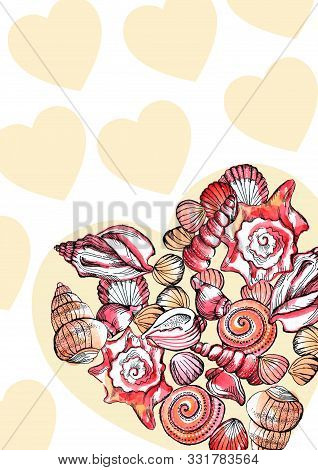 Seashells And Seastars Collection In A Heart Shape On White Background.
