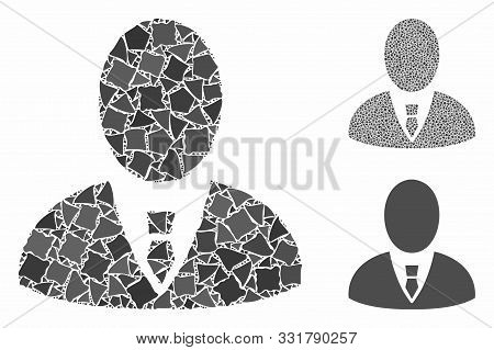 Boss Composition Of Uneven Elements In Different Sizes And Shades, Based On Boss Icon. Vector Abrupt