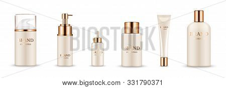 Cosmetic Bottles. Realistic Golden Packaging For Serum, Cream, Shampoo, Balm. Vector Cosmetic Mockup