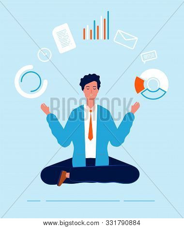 Multitasking Manager. Business Person Lotus Pose Yoga Sitting Making Different Urgent Tasks Effectiv
