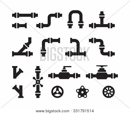 Pipe Icons. Metal Industry Water Pipelines Valve Constructions Connectors Steel Vector Pipes Silhoue