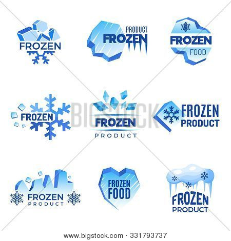 Ice Logo. Frozen Product Abstract Badges Cold And Ice Vector Symbols. Ice Cold Crystal Badge For Pro