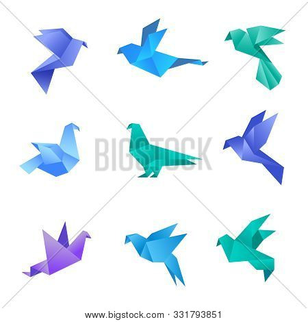 Origami Dove. Pigeon Birds From Paper Stylized Polygon Geometrical Abstract Animals Vector Origami C