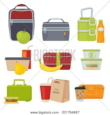 Lunch Boxes. School Healthy Daily Food Packages Bag With Fruits Salad Sandwich Snacks Products For K