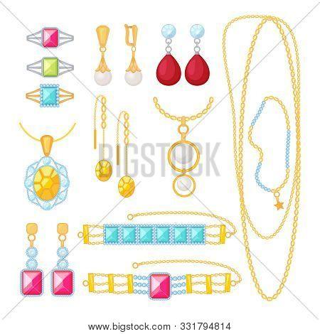 Jewelry. Expensive Shop With Gold Bracelets Gems Woman Wedding Diamond Jewellery Vector Cartoon Item