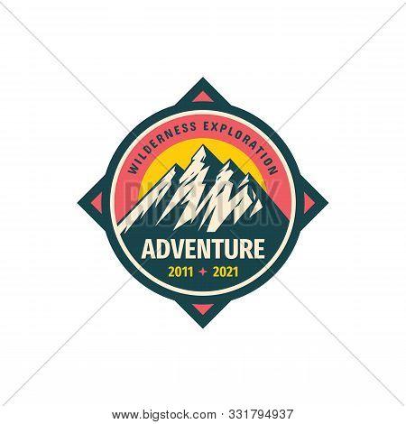 Mountain Logo. Adventure Logo Badge Design. Wilderness Exploration Concept Logo Sign. Climbing Logo.