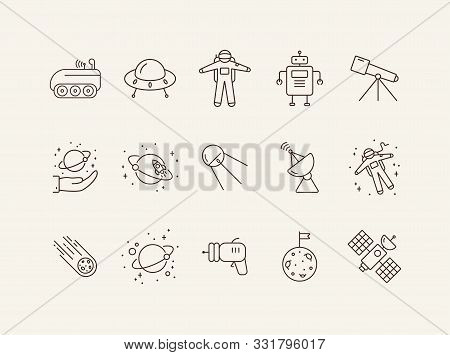 Space Technology Line Icons. Astronaut, Blaster, Robot. Space Technology Concept. Vector Illustratio