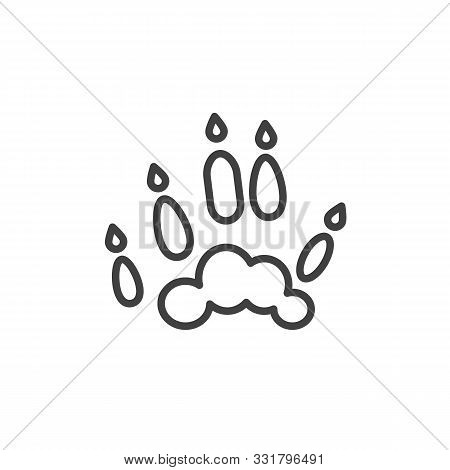 Ferret Paw Print Line Icon. Linear Style Sign For Mobile Concept And Web Design. Polecat Animal Foot