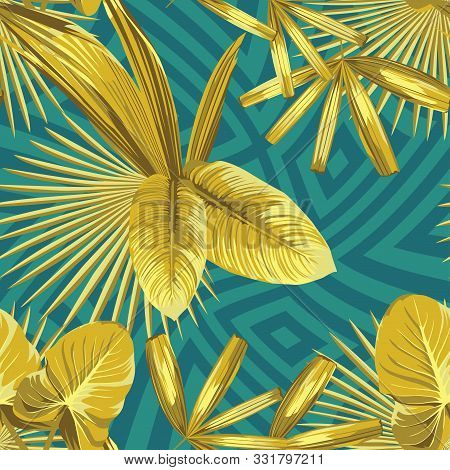 Vivid Golden Vector Leaves In Abstract Color Geometric Background. Seamless Illustration Gold Tropic