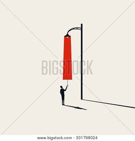 Creativity Vector Concept With Man Pulling Light From Streetlight. Creative New Ideas And Brainstorm