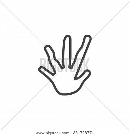 Iguana Paw Print Line Icon. Linear Style Sign For Mobile Concept And Web Design. Guana Animal Footpr