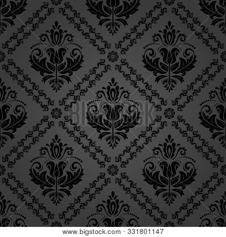 Classic Seamless Vector Black Pattern. Damask Orient Ornament. Classic Vintage Dark Background. Orie