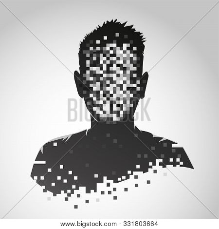 Anonymous Vector Icon. Privacy Concept. Human Head With Pixelated Face. Personal Data Security Illus