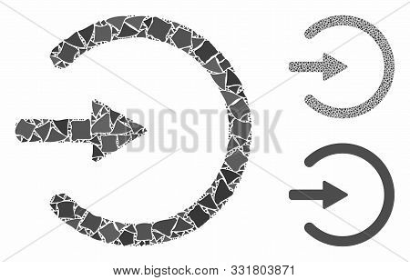 Entrance Mosaic Of Rough Parts In Various Sizes And Color Tints, Based On Entrance Icon. Vector Roug