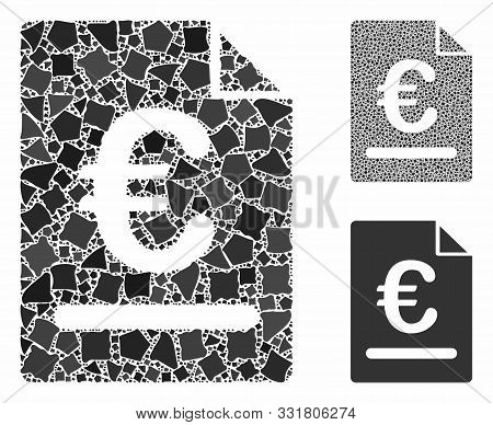 Euro Invoice Mosaic Of Tremulant Items In Various Sizes And Color Tinges, Based On Euro Invoice Icon