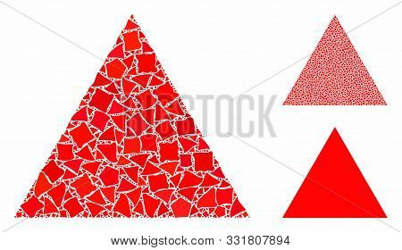 Filled Triangle Composition Of Trembly Pieces In Different Sizes And Shades, Based On Filled Triangl