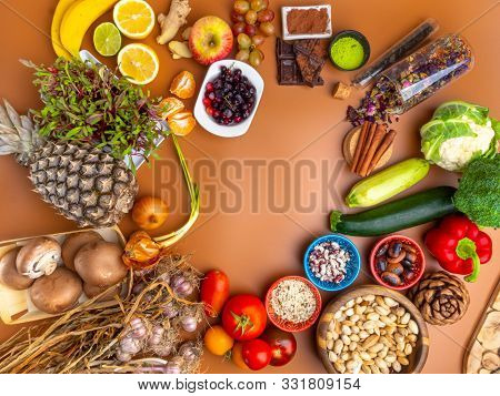 Immune Boosting Health Super Food Selection Background, Healthy Eating And Immune System Boost With