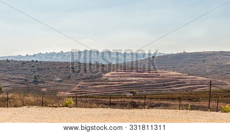 Rosh Haayin, Israel, October 31, 2019 : View From Tel Shilo To The Nearby Palestinian Village Turmus