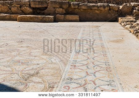 Rosh Haayin, Israel, October 31, 2019 : The Remains Of The Mosaic Floor In The Archaeological Site A
