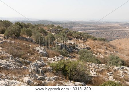 Rosh Haayin, Israel, October 31, 2019 : The Ruins Of Deir Castle Outside The Village Peduel In The S